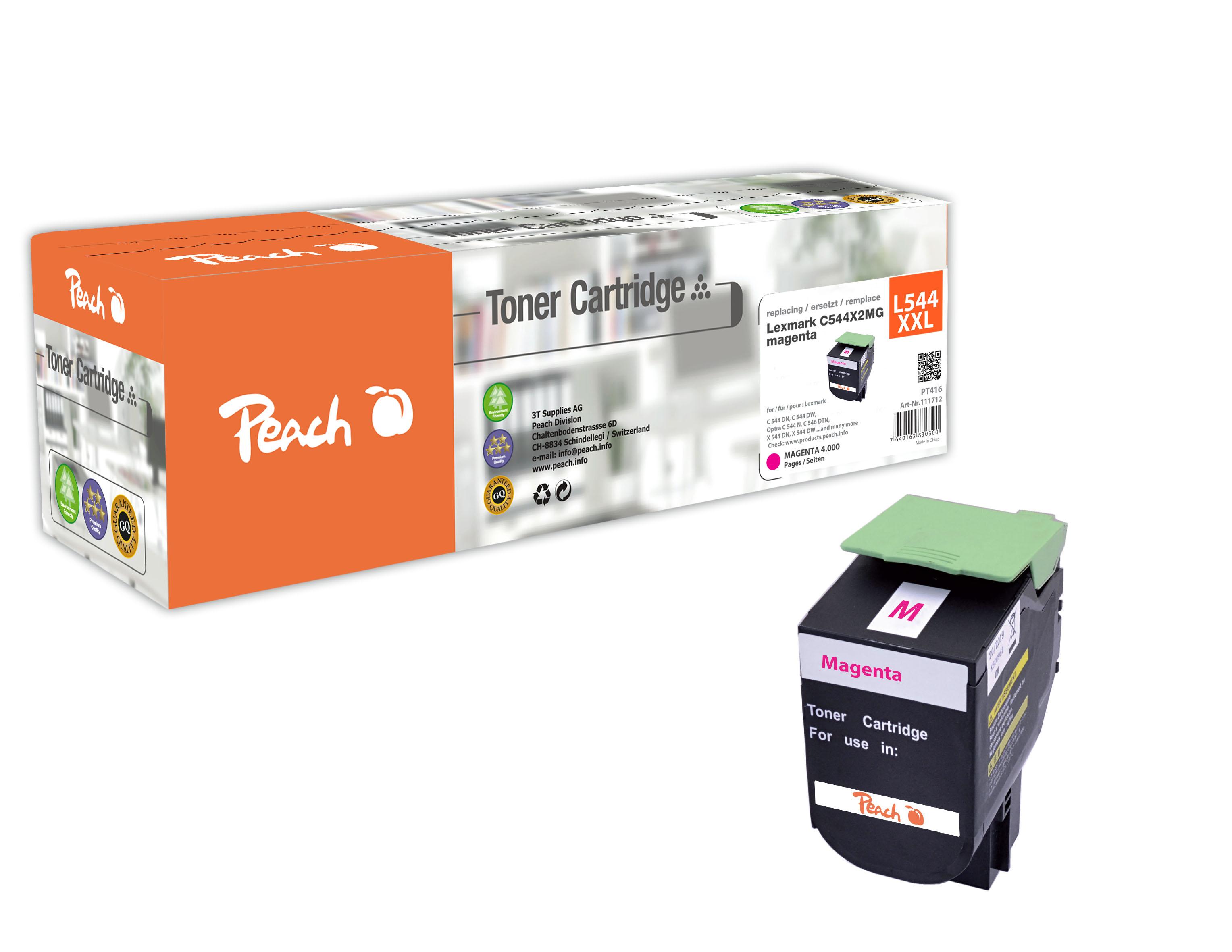 Peach  Toner Module magenta, compatible avec ID-Fabricant: C544X2MG, C544, X544 Lexmark C 544 DN
