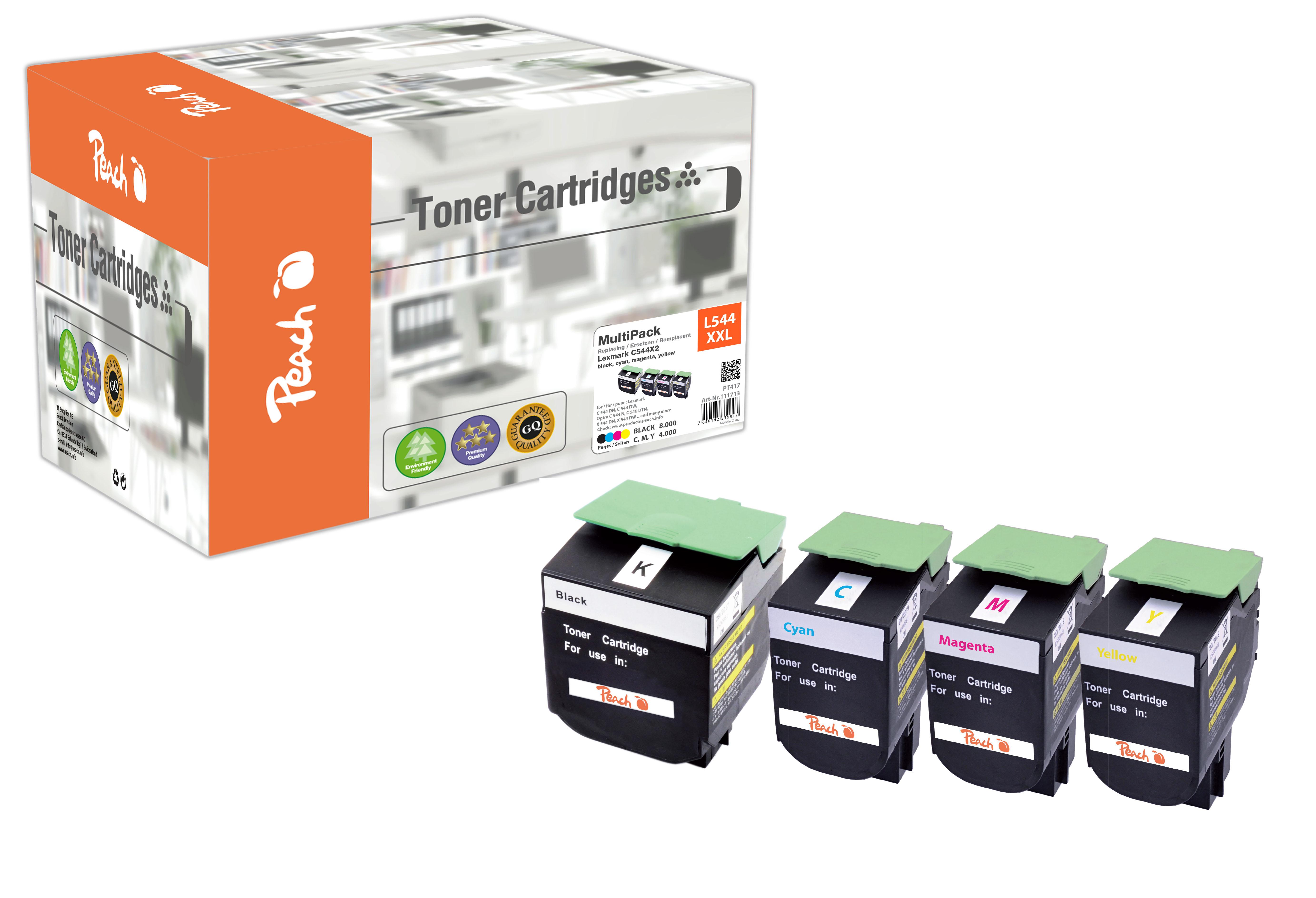 Peach Multipack , compatible avec ID-Fabricant: C544X2, C544, X544 Lexmark C 544 DN
